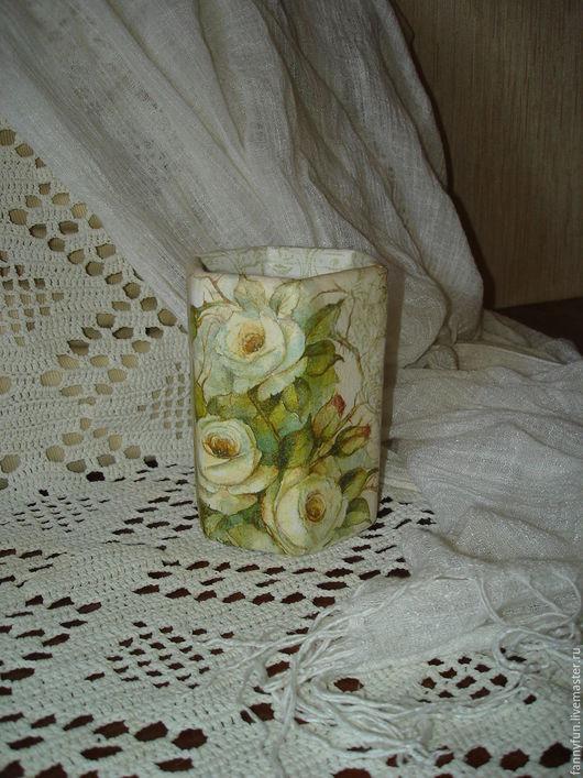 Карандашницы ручной работы. Ярмарка Мастеров - ручная работа. Купить Карандашница Зачарованный сад - розы, декупаж, подставка. Handmade. Разноцветный