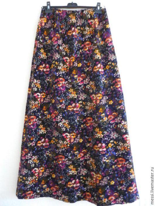 Одежда. Ярмарка Мастеров - ручная работа. Купить Винтажная юбка в пол, р.46-48, бархат, цветы, хиппи, 70-е, БоХо. Handmade.
