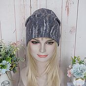 Аксессуары handmade. Livemaster - original item Women`s felted hat.Warm wool grey felted beanie hat. Handmade.