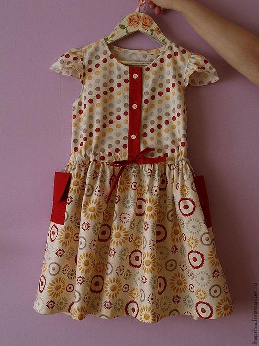 """Одежда для девочек, ручной работы. Ярмарка Мастеров - ручная работа. Купить Детское платье """"Круги"""". Handmade. В горошек"""