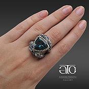 Украшения handmade. Livemaster - original item Large ring with tourmaline and sapphires. 925 sterling silver.. Handmade.