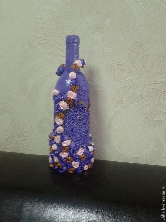 Вазы ручной работы. Ярмарка Мастеров - ручная работа. Купить Декоративная бутылка. Handmade. Цветочное, акриловая краска