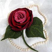 "Brooches handmade. Livemaster - original item ""Аделаида"" Брошь роза валяная. Handmade."