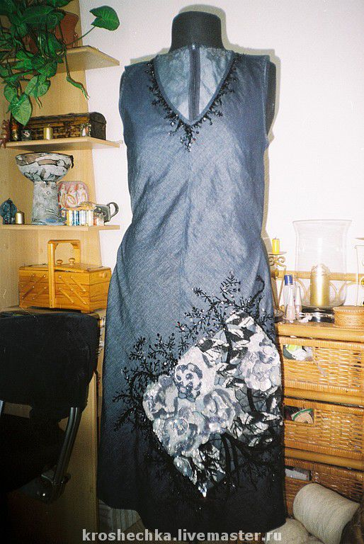 Dresses handmade. Livemaster - handmade. Buy Embroidered denim dress 'Graphite'.Fancy dress, dress, dress, author's dress