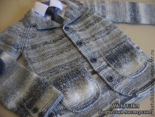"""Одежда для мальчиков, ручной работы. Ярмарка Мастеров - ручная работа. Купить Вязаный пиджак для мальчика """"Тедди"""". Handmade. Серый"""