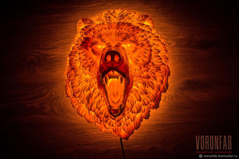 Медведь скульптура животного светильник ночник лава огонь, Ночники, Вологда,  Фото №1
