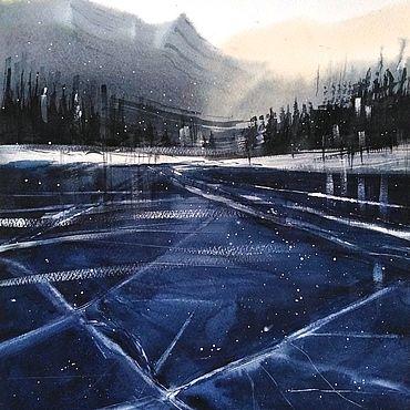 Картины и панно ручной работы. Ярмарка Мастеров - ручная работа Горное озеро во льду. Handmade.
