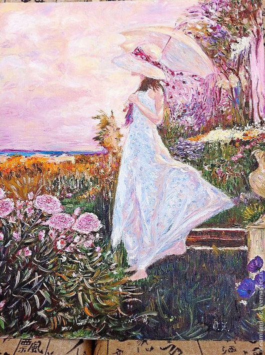 """Люди, ручной работы. Ярмарка Мастеров - ручная работа. Купить картина маслом """" В розовых мечтах"""". Handmade. Розовый"""