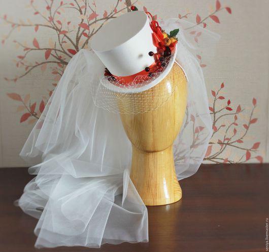 Одежда и аксессуары ручной работы. Ярмарка Мастеров - ручная работа. Купить Свадебный мини-цилиндр к осенней свадьбе.. Handmade. Белый