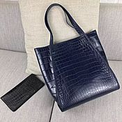 Сумки и аксессуары handmade. Livemaster - original item Women`s shopping bag, crocodile leather, in dark blue.. Handmade.