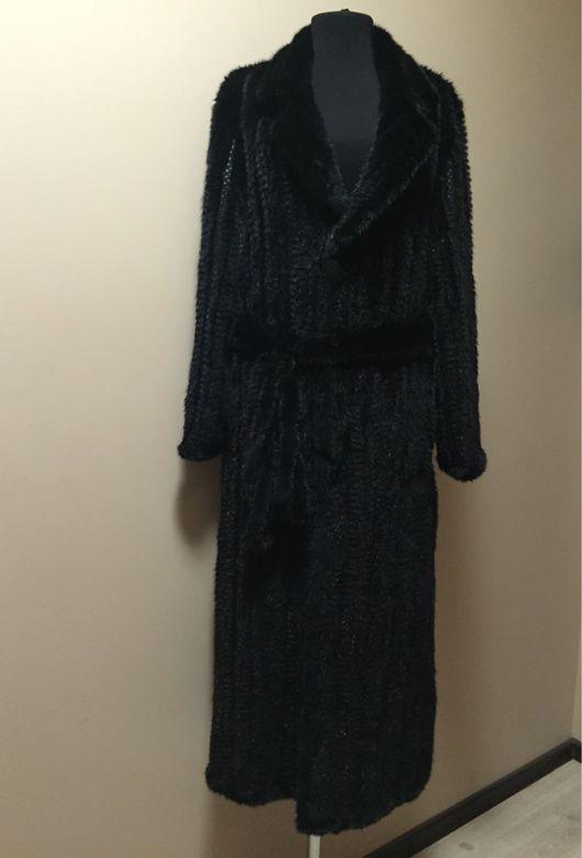 Пальто из вязаной норки `Классика` длинна 120 см.