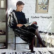 Одежда handmade. Livemaster - original item Knitted Dress Loose Black White Dress Sweater Boho Comfy Dress Jumper. Handmade.