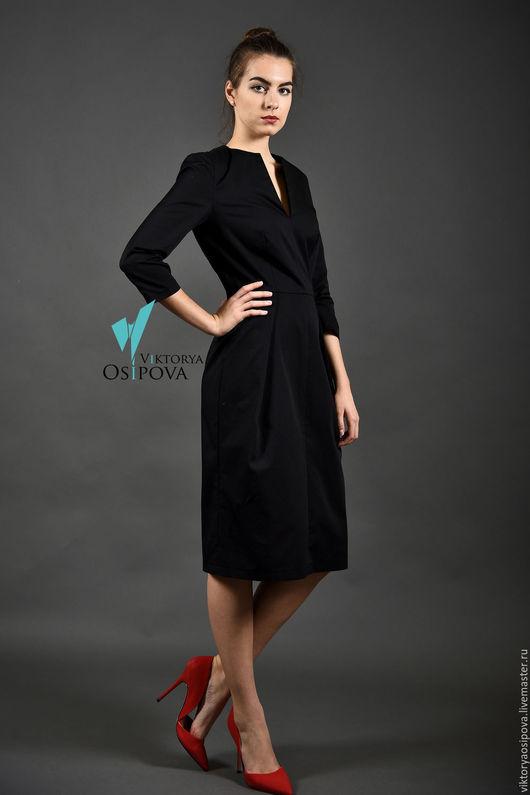 Платья ручной работы. Ярмарка Мастеров - ручная работа. Купить Черное платье. Handmade. Черный, платье хлопковое, платье офисное