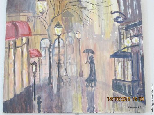 """Город ручной работы. Ярмарка Мастеров - ручная работа. Купить Картина """"Дождливый вечер"""". Handmade. Любовь, теплый свет кафе"""