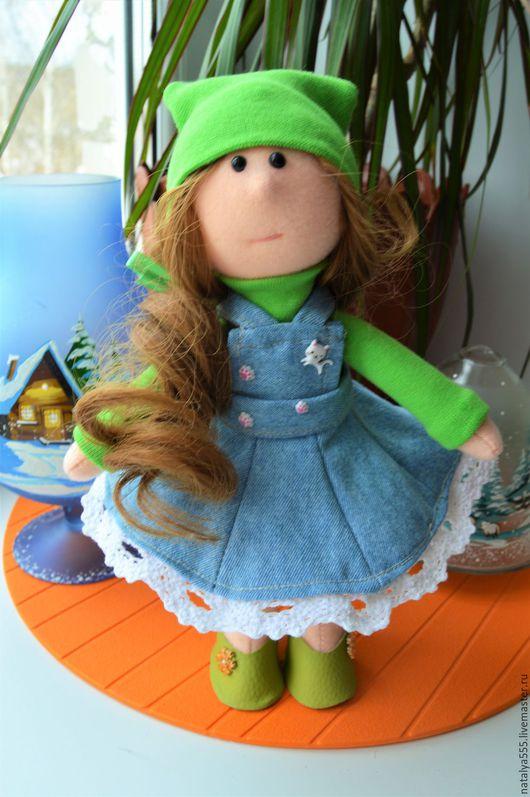 """Куклы тыквоголовки ручной работы. Ярмарка Мастеров - ручная работа. Купить """" Луша """" - текстильная кукла.. Handmade. Зеленый"""
