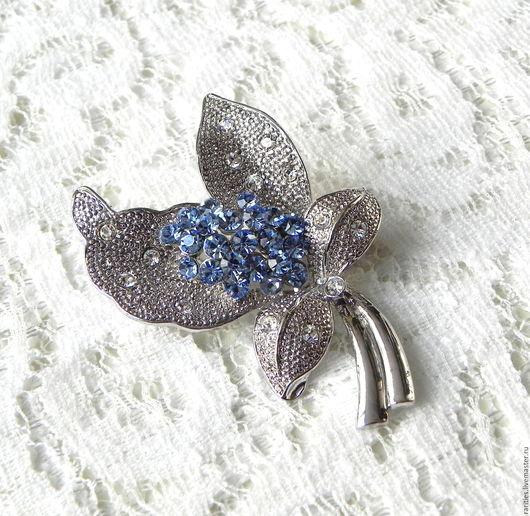 Винтажные украшения. Ярмарка Мастеров - ручная работа. Купить Брошь Изящный цветок,цветочек,цветы,брошка,в подарок любимой,голубой. Handmade.