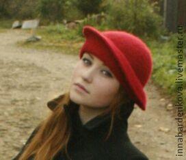 Кепки ручной работы. Ярмарка Мастеров - ручная работа. Купить валяная шляпа. Handmade. Бордовый, Валяние, шапки, шляпа с полями