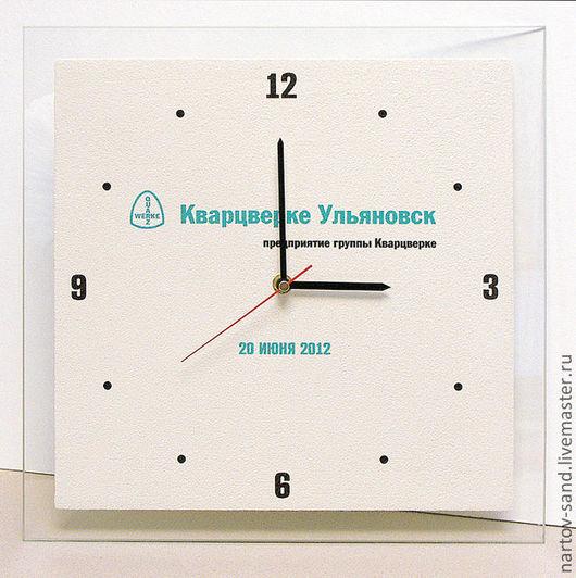 Часы для дома ручной работы. Ярмарка Мастеров - ручная работа. Купить часы из песка корпоративные №5. Handmade. Белый
