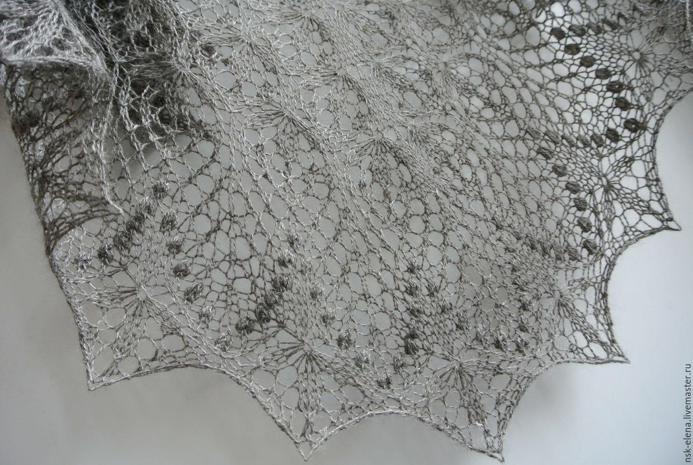 """2650руб!!Ажурная шаль """"Темное серебро"""" из альпаки с шелком, Шали, Новосибирск,  Фото №1"""