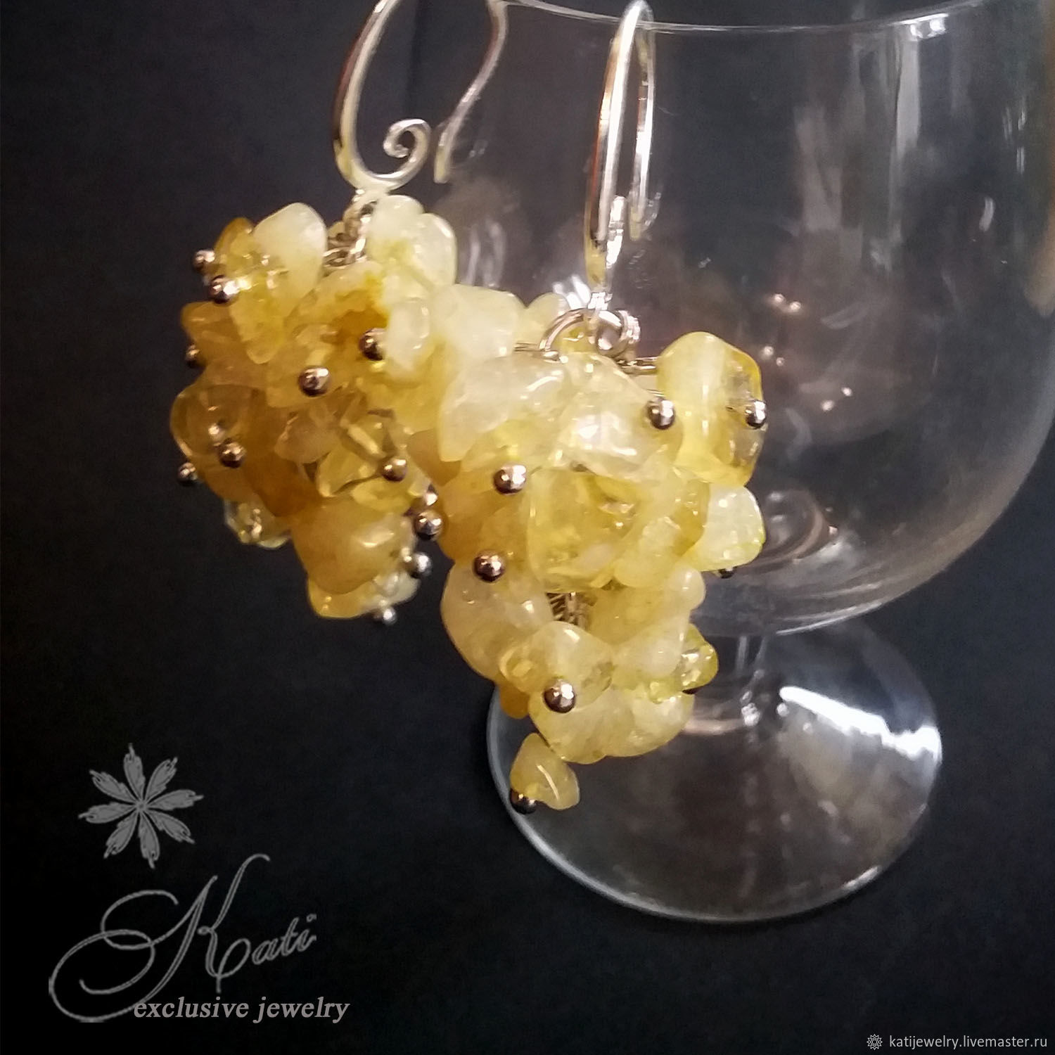 earrings: Bunches of natural citrine, Earrings, Rostov-on-Don,  Фото №1