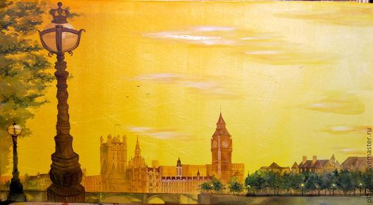 Город ручной работы. Ярмарка Мастеров - ручная работа. Купить Лондон. Handmade. Желтый, лондон, панно на шёлке, свободная роспись