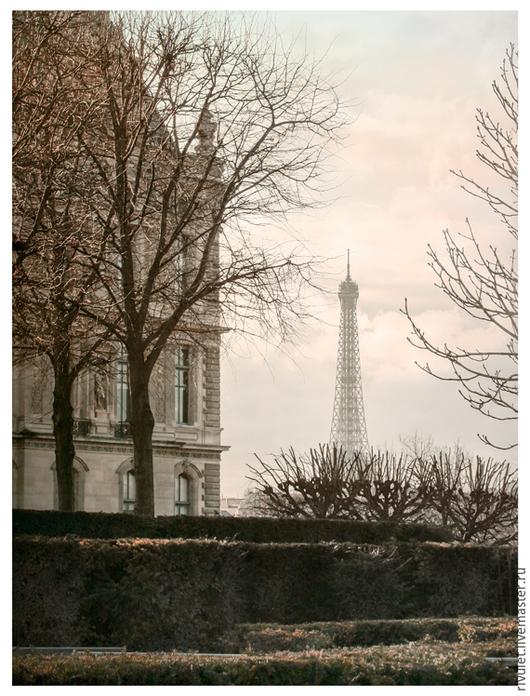"""Париж фото картина для интерьера, городской пейзаж  с Эйфелевой башней в пастельных тонах.  `Париж. Скоро весна"""" © ЕленаАнуфриева. Авторские фото картины на заказ"""