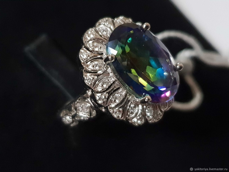 Серебряное кольцо с кварцем 14х10 мм и фианитами, Кольца, Москва,  Фото №1