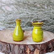 Винтажные предметы интерьера ручной работы. Ярмарка Мастеров - ручная работа Пара миниатюрных керамических вазочек. Handmade.