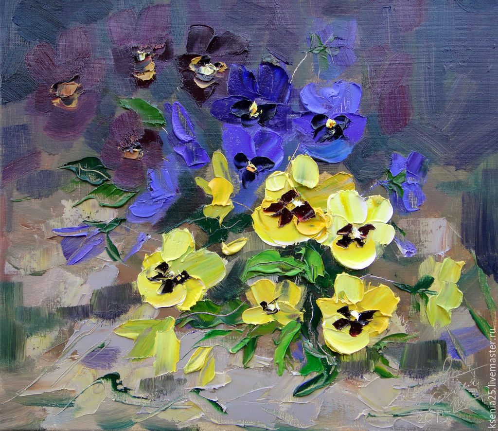 Pansies painting images galleries for Buy mural paintings