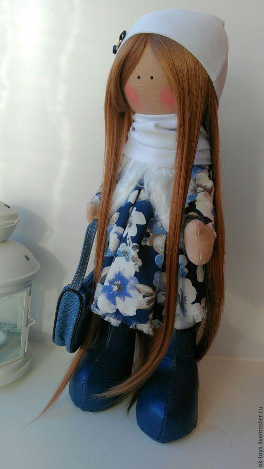 Коллекционные куклы ручной работы. Ярмарка Мастеров - ручная работа. Купить Куколка Поли,большеножка. Handmade. Синий, большеножка