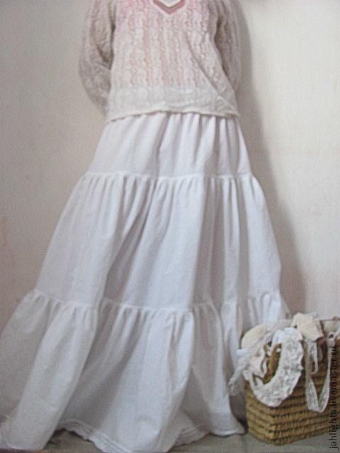 Юбки ручной работы. Ярмарка Мастеров - ручная работа. Купить Нижняя юбка с прекрасным кружевом. Handmade. Белый, юбка в пол
