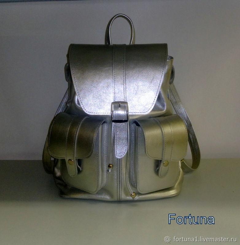 Backpack leather ' Big silver', Backpacks, St. Petersburg,  Фото №1