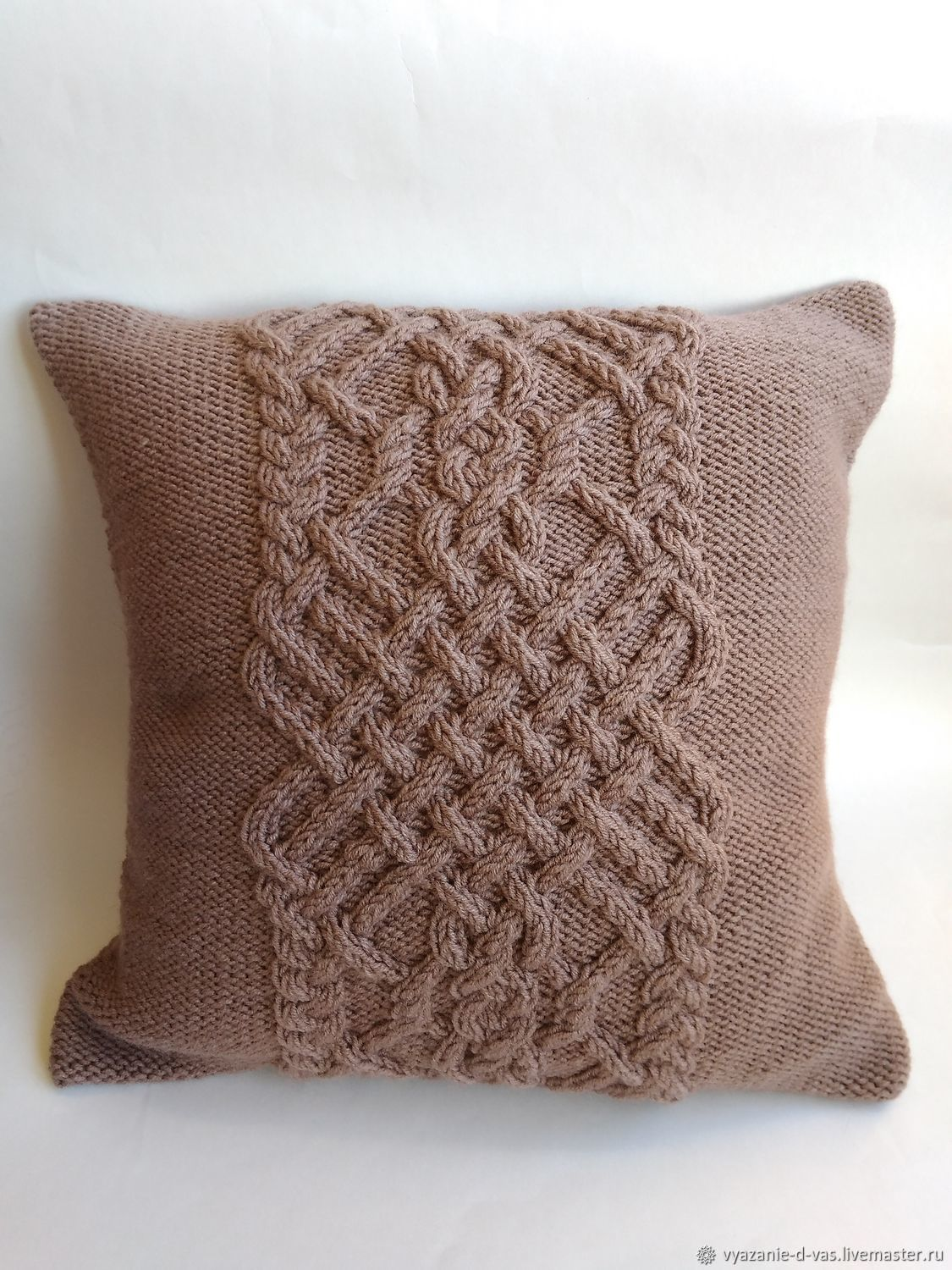 Decorative knitted pillow 40h40 cm Pillowcase for a pillow for the country, Pillow, Voronezh,  Фото №1