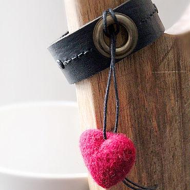 Decorations handmade. Livemaster - original item Leather Bracelet with felted heart pendant. Handmade.