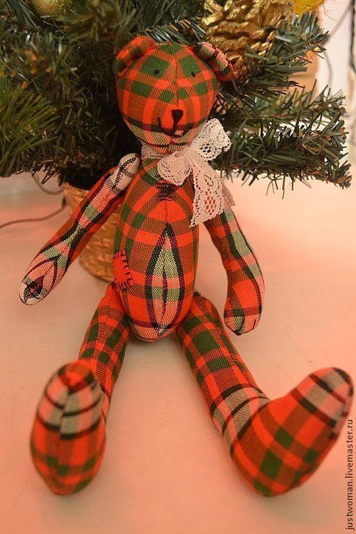 Мишки Тедди ручной работы. Ярмарка Мастеров - ручная работа. Купить Мишка клетчатый. Handmade. Ярко-красный, текстильная игрушка