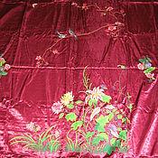 Винтаж ручной работы. Ярмарка Мастеров - ручная работа Покрывало шёлковое с вышивкой. Винтаж. Handmade.