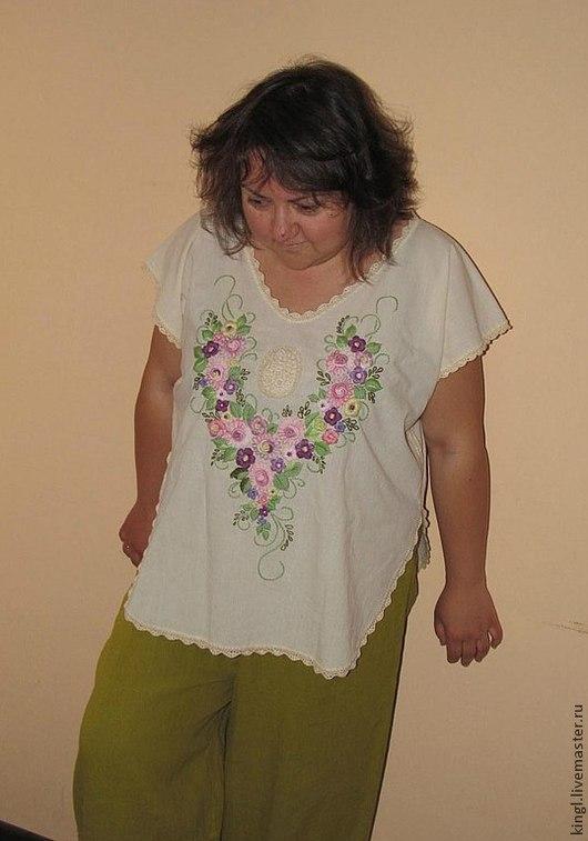 Блузки ручной работы. Ярмарка Мастеров - ручная работа. Купить Женская летняя блузка с ручной вышивкой большого размера  Лето. Handmade.
