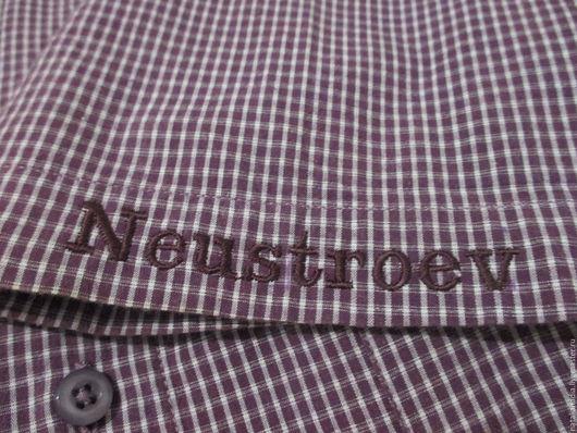 Для мужчин, ручной работы. Ярмарка Мастеров - ручная работа. Купить Вышивка монограмм/инициалов на мужской рубашке/сорочке. Handmade. Комбинированный, вискоза