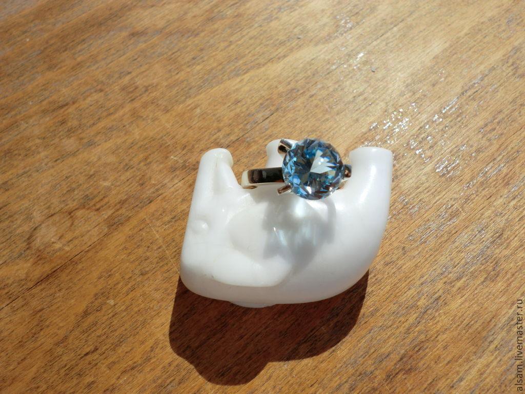 """Кольца ручной работы. Ярмарка Мастеров - ручная работа. Купить кольцо """"Магия Воды"""". Handmade. Голубой, золотое кольцо"""