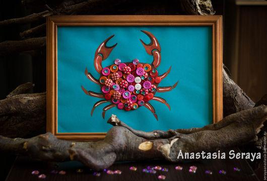"""Животные ручной работы. Ярмарка Мастеров - ручная работа. Купить Картина из пуговиц """"Краб"""". Handmade. Ярко-красный, подводный мир"""