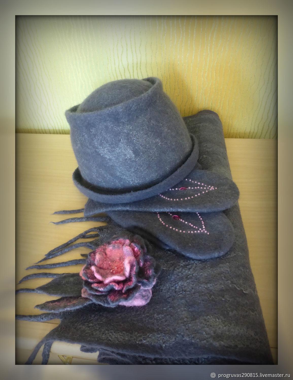 Felted dark gray set: hat, scarf and mittens, Headwear Sets, Votkinsk,  Фото №1