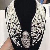 Украшения handmade. Livemaster - original item Exquisite leopard Necklace, pearls, black onyx, zircons, 24K. Handmade.