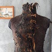 """Одежда ручной работы. Ярмарка Мастеров - ручная работа Двусторонний валяный жилет """"Black chocolate"""". Handmade."""