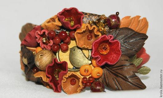 """Браслеты ручной работы. Ярмарка Мастеров - ручная работа. Купить Браслет из кожи """"Последняя песнь соловья"""". Handmade. Оранжевый, рыжий"""