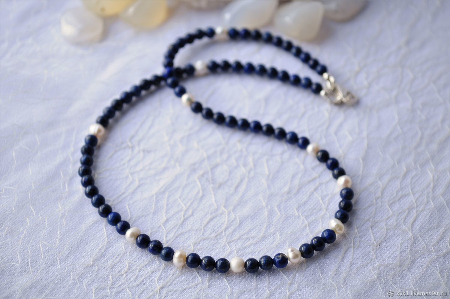 Small beads, delicate necklace of lapis lazuli and pearls, Necklace, Moscow,  Фото №1