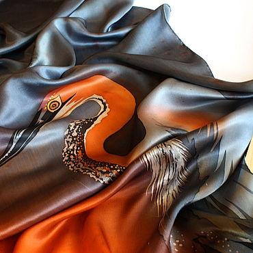 Аксессуары ручной работы. Ярмарка Мастеров - ручная работа Атласный шарф Цапля, батик. Handmade.