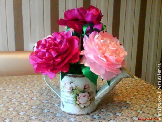 Цветы ручной работы. Ярмарка Мастеров - ручная работа. Купить Пионы. Handmade. Пионы из атласных лент, композиция из цветов