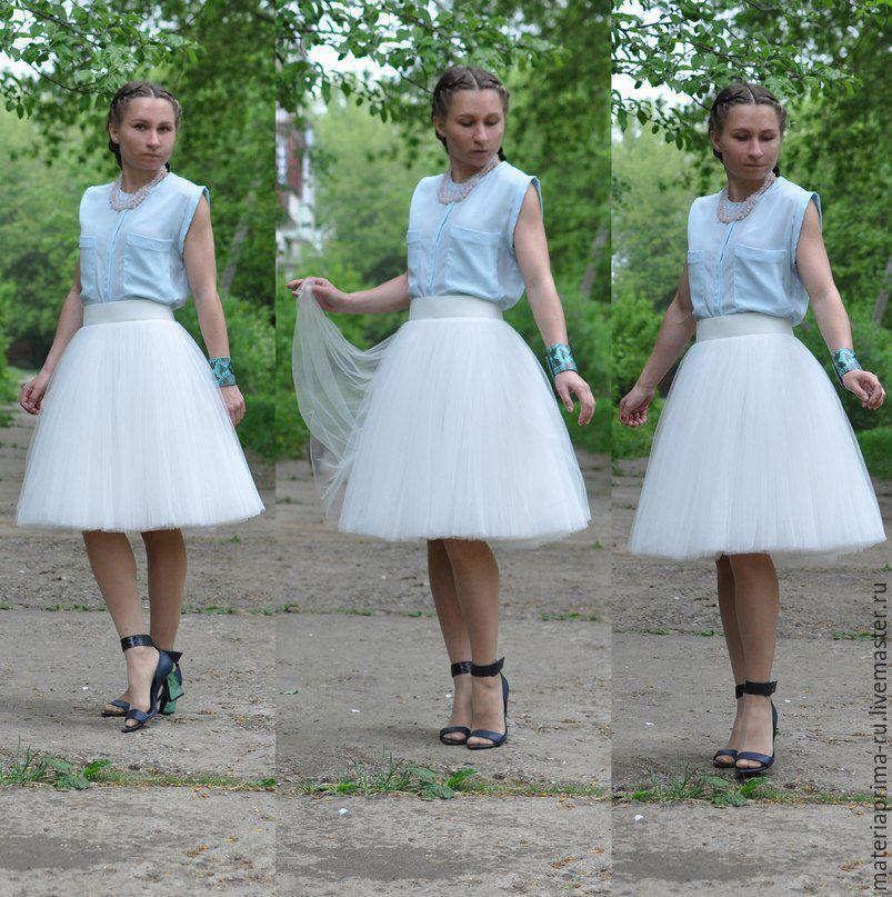 Белая юбка из тюля