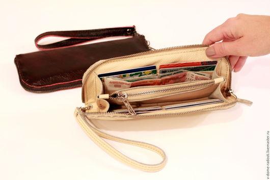 Кошелек из натуральной кожи, кожаный женский кошелек, купить женский кошелек, натуральная кожа,  рыжий кошелек. Мастер Сечкина Юлия http://www.livemaster.ru/v-dome-radosti