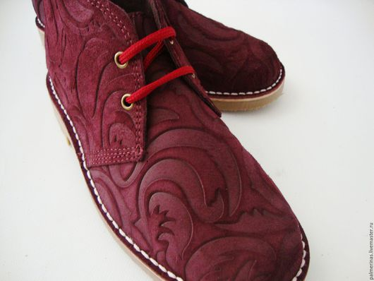 Обувь ручной работы. Ярмарка Мастеров - ручная работа. Купить Замшевые бордовые ботинки. Handmade. Бордовый, ботинки из замши